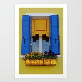 Blue & Yellow Burano Window Art Print