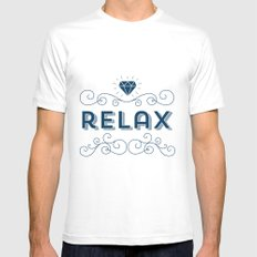 Relax grey Mens Fitted Tee White MEDIUM