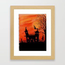 Haunted House Witch Play Framed Art Print