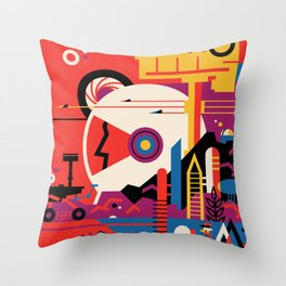 NASA Retro Space Travel Poster #9 Mars Throw Pillow