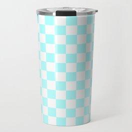 Small Checkered - White and Celeste Cyan Travel Mug