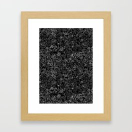 Crazy monsters in a crowded pattern Framed Art Print