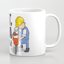 """Funny Worker with Cyrillic Text: """"Bro, Let's Do Mining"""" Coffee Mug"""