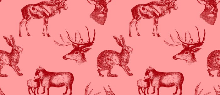 Woodland Critters in Red and Pink Coffee Mug
