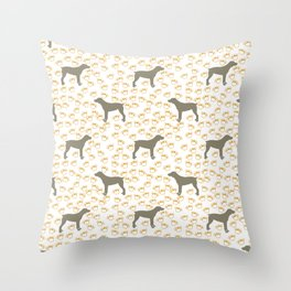 Big Grey Weimaraner Dog and Yellow Paw Prints Throw Pillow