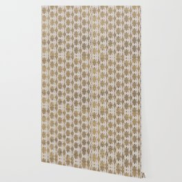 Golden Geometric Tribal Ethnic  Pattern Wallpaper