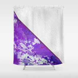 Abstract violet lilac white watercolor paint splatters Shower Curtain