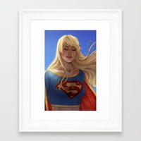 supergirl Framed Art Prints featuring Supergirl by maltairs