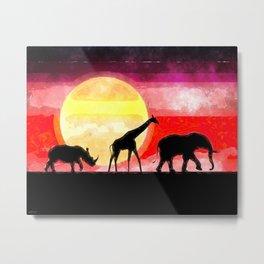 Elephant Giraffe Rhinoceros Metal Print