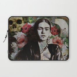 Frida Kahlo skulls and flowers Laptop Sleeve
