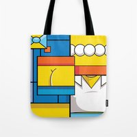 simpson Tote Bags featuring Abstract Simpson by REMart