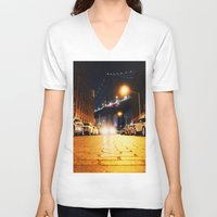 dumbo V-neck T-shirts featuring Dumbo, Brooklyn by Dominique Weber