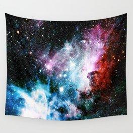 Carina Nebula : Vivid Blue Fuchsia and Red Wall Tapestry