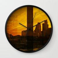 minneapolis Wall Clocks featuring golden minneapolis by sara montour