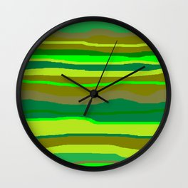 Green Multi Brush Strokes Wall Clock