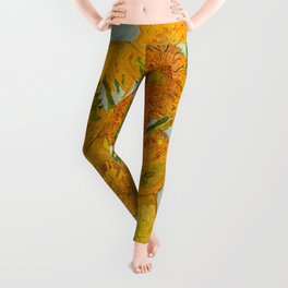 Sunflowers Oil Painting By Vincent van Gogh Leggings