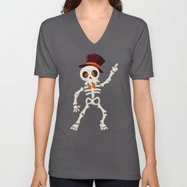 Dancing halloween skull Unisex V-Neck