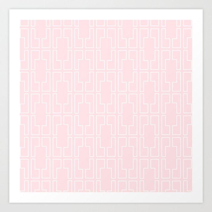 Simply Mid-Century White on Flamingo Pink Art Print