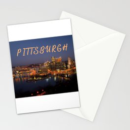 Pittsburgh, Pennsylvania Downtown Night Time River with Bridges Stationery Cards