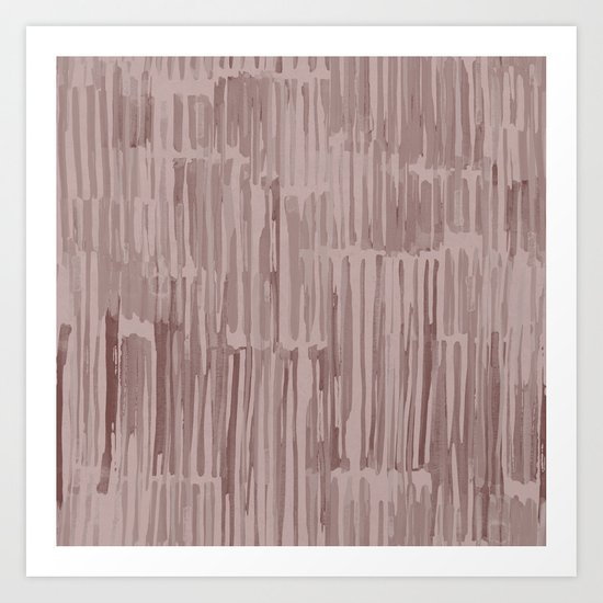 Simply Bamboo Brushstroke Red Earth on Clay Pink Art Print