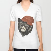 skyline V-neck T-shirts featuring zissou the bear by Laura Graves