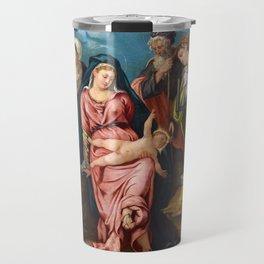 """Tintoretto (Jacopo Robusti) """"Holy Family with Saint John the Baptist,..., Elisabeth and Catherina"""" Travel Mug"""