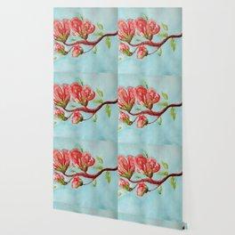 Vermilion Blossoms watercolor by CheyAnne Sexton Wallpaper