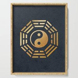 Golden Yin Yang I Ching Serving Tray