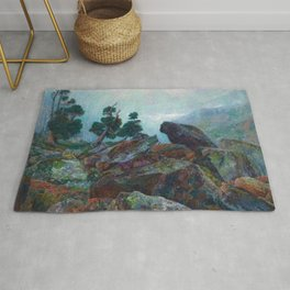 Weather chirping on cyclone rock landscape painting by Emilie Mediz-Pelikan Rug