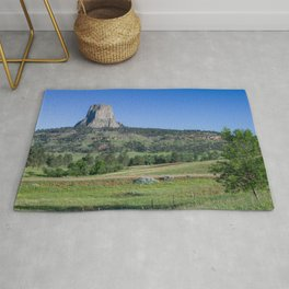 Photo USA Devils tower, Wyoming Crag Nature Hill Grass Trees Rock Cliff Rug