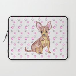 Cute Chihuahua Puppy in Watercolor and Paw Prints Laptop Sleeve