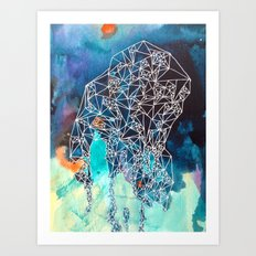 Empty Nest in Indigo Fade Art Print