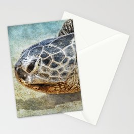 Green Sea Turtle Portrait Stationery Cards