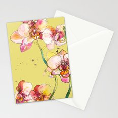 Pink Orchids in Yellow Stationery Cards