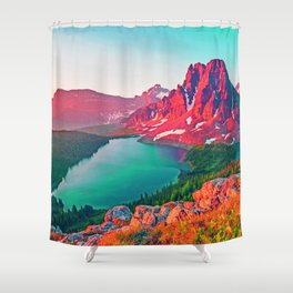 Red Dream Peaks Shower Curtain