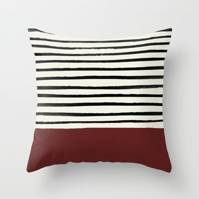 Dark Ruby & Stripes Deko-Kissen