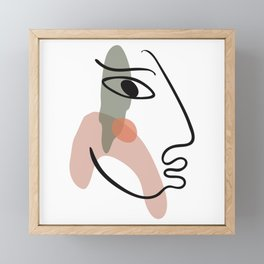 Woman crying line art, single line drawing, modern aesthetic art, minimalist female figure art print Framed Mini Art Print