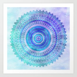 Blue Turquoise And Purple Watercolor Mandala Art Art Print