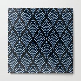 Vintage,black,darkteal,pattern,art nouveau, chic Metal Print