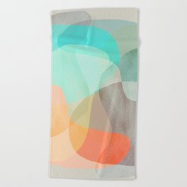 Shapes and Layers no.29 - Blue, Orange, Gray, abstract painting Beach Towel