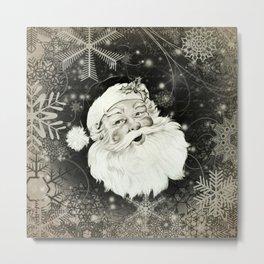 Vintage Santa Claus with snowflakes Metal Print