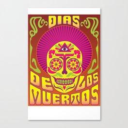 Psychedelic Dias De Los Muertos Poster Canvas Print