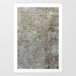 Metal plate with old-slavonic text Art Print