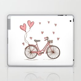 Retro vintage bicycle print with heart shaped balloons Laptop & iPad Skin