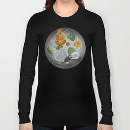 Stilllife with Tropaeolum majus, bird skull and a glass vase Long Sleeve T-shirt