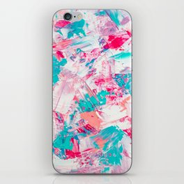 Modern bright candy pink turquoise pastel brushstrokes acrylic paint iPhone Skin