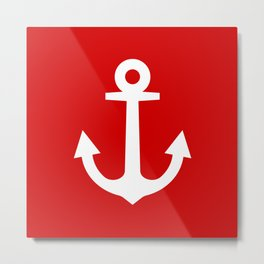 Red And White Anchor Metal Print
