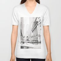 new york city V-neck T-shirts featuring New York City Christmas by Vivienne Gucwa