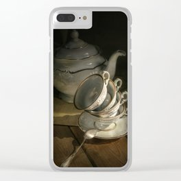 Still life with teapot and set of teacups Clear iPhone Case