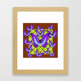 Migrating Purple Butterflies  on  Coffee Brown & Lime Color Pattern Framed Art Print